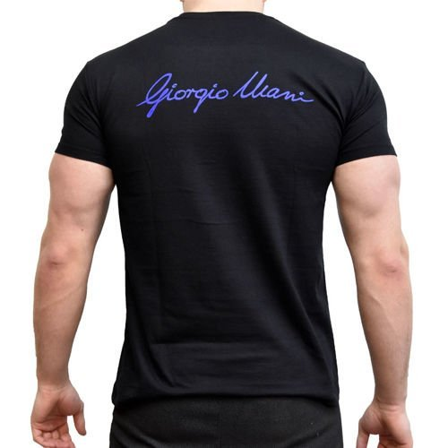 3f25ca1aac4502 Giorgio Ulani T-shirt Giorgio BLUE on Black L L \ BLUE on BLACK ...